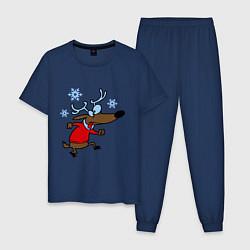 Пижама хлопковая мужская Новогодний олень цвета тёмно-синий — фото 1