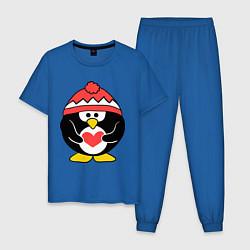 Пижама хлопковая мужская Пингвин с сердцем цвета синий — фото 1