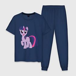 Пижама хлопковая мужская Пони Сумеречная Искорка цвета тёмно-синий — фото 1