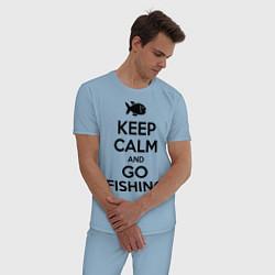 Пижама хлопковая мужская Keep Calm & Go fishing цвета мягкое небо — фото 2