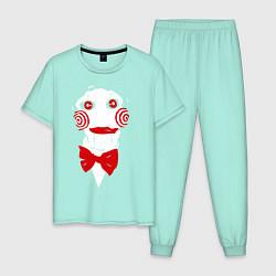 Пижама хлопковая мужская Пила цвета мятный — фото 1