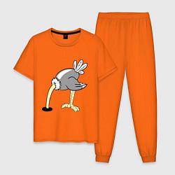 Пижама хлопковая мужская Влюбленный страус: для него цвета оранжевый — фото 1