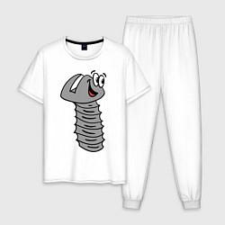Пижама хлопковая мужская Влюбленный болт цвета белый — фото 1