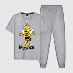 Пижама хлопковая мужская Муж цвета меланж — фото 1