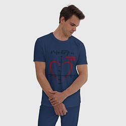 Пижама хлопковая мужская Формула любви цвета тёмно-синий — фото 2
