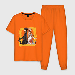 Пижама хлопковая мужская Asuna & Kirito цвета оранжевый — фото 1