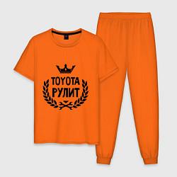 Пижама хлопковая мужская Тойота рулит цвета оранжевый — фото 1