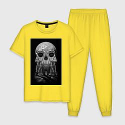 Пижама хлопковая мужская Космонавты цвета желтый — фото 1