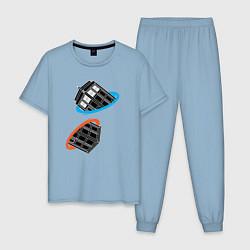 Пижама хлопковая мужская Tardis Portal цвета мягкое небо — фото 1
