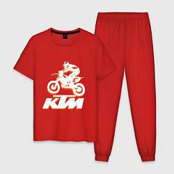 Пижама хлопковая мужская KTM белый цвета красный — фото 1