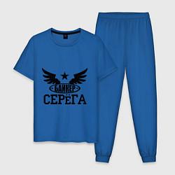 Пижама хлопковая мужская Серёга байкер цвета синий — фото 1