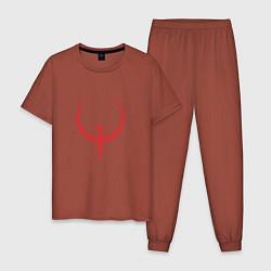 Пижама хлопковая мужская Quake цвета кирпичный — фото 1