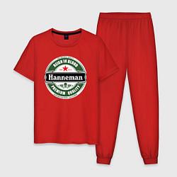 Пижама хлопковая мужская Hanneman цвета красный — фото 1