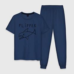 Пижама хлопковая мужская Flipper цвета тёмно-синий — фото 1