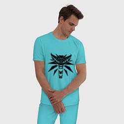 Пижама хлопковая мужская The Witcher 3 цвета бирюзовый — фото 2