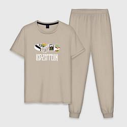 Пижама хлопковая мужская Led Zeppelin цвета миндальный — фото 1