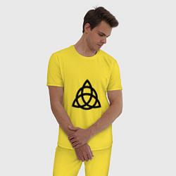 Пижама хлопковая мужская Зачарованные цвета желтый — фото 2