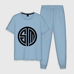 Пижама хлопковая мужская SoloMid цвета мягкое небо — фото 1