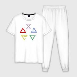Пижама хлопковая мужская Witcher 3 знаки цвета белый — фото 1