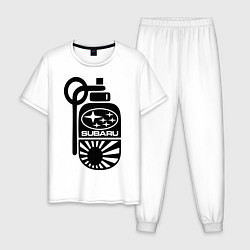 Пижама хлопковая мужская Subaru цвета белый — фото 1