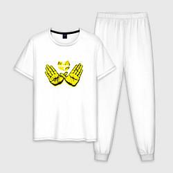 Пижама хлопковая мужская Wu-Tang Hands цвета белый — фото 1