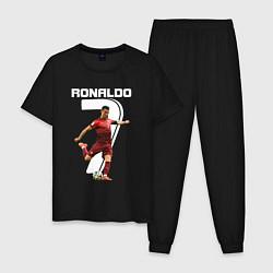 Пижама хлопковая мужская Ronaldo 07 цвета черный — фото 1