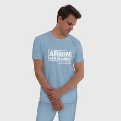 Пижама хлопковая мужская Armin van Buuren цвета мягкое небо — фото 2