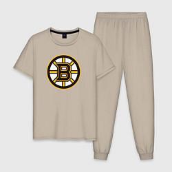 Пижама хлопковая мужская Boston Bruins цвета миндальный — фото 1