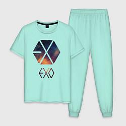 Пижама хлопковая мужская EXO цвета мятный — фото 1