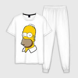 Пижама хлопковая мужская Sad Homer цвета белый — фото 1