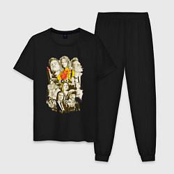 Пижама хлопковая мужская Герои Тарантино цвета черный — фото 1