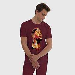 Пижама хлопковая мужская LeBron Head цвета меланж-бордовый — фото 2
