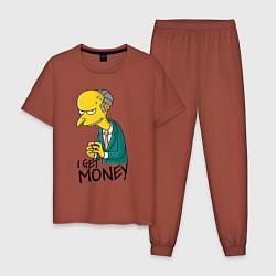 Пижама хлопковая мужская Mr. Burns: I get money цвета кирпичный — фото 1