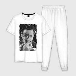 Пижама хлопковая мужская Дали с лупой цвета белый — фото 1