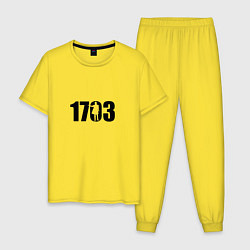 Пижама хлопковая мужская 1703 цвета желтый — фото 1