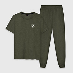 Пижама хлопковая мужская Шеврон ОДОН цвета меланж-хаки — фото 1