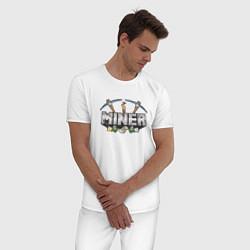 Пижама хлопковая мужская Miner цвета белый — фото 2