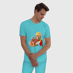 Пижама хлопковая мужская Super Mario: Builder цвета бирюзовый — фото 2