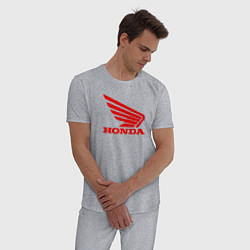 Пижама хлопковая мужская Honda Red цвета меланж — фото 2