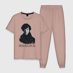 Пижама хлопковая мужская Sherlock Art цвета пыльно-розовый — фото 1