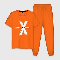 Пижама хлопковая мужская Trust no one цвета оранжевый — фото 1