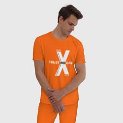 Пижама хлопковая мужская Trust no one цвета оранжевый — фото 2