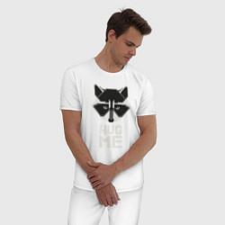 Пижама хлопковая мужская Raccoon: Hug me цвета белый — фото 2