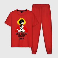 Пижама хлопковая мужская The hero never dies цвета красный — фото 1