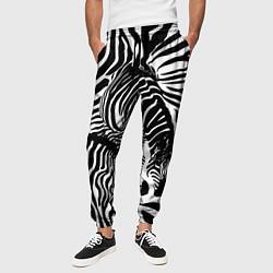 Брюки на резинке мужские Полосатая зебра цвета 3D-принт — фото 2