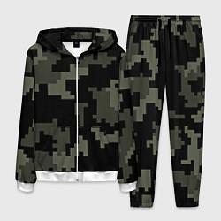 Костюм мужской Камуфляж пиксельный: черный/серый цвета 3D-белый — фото 1