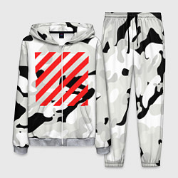 Костюм мужской Off-White: Grey Red Lines цвета 3D-меланж — фото 1