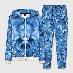 Костюм мужской Сине-бело-голубой лев цвета 3D-белый — фото 1
