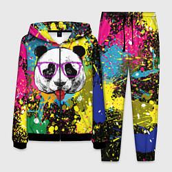 Костюм мужской Панда хипстер в брызгах краски цвета 3D-черный — фото 1