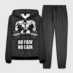 Костюм мужской No pain, no gain цвета 3D-черный — фото 1